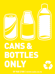Cans and Bottles Recycling Bin Signage