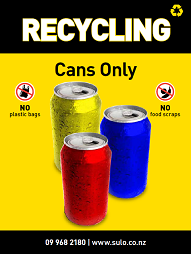 cans only recycling bin signage