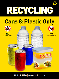 cans and plastic only bin signage