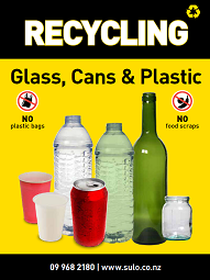 glass, cans and plastic recycling bin signage