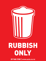 rubbish only bin signage